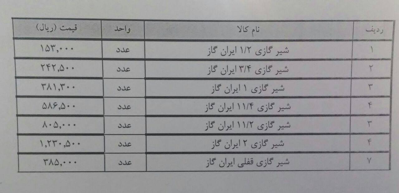 قیمت شیرگازی گاز ایران